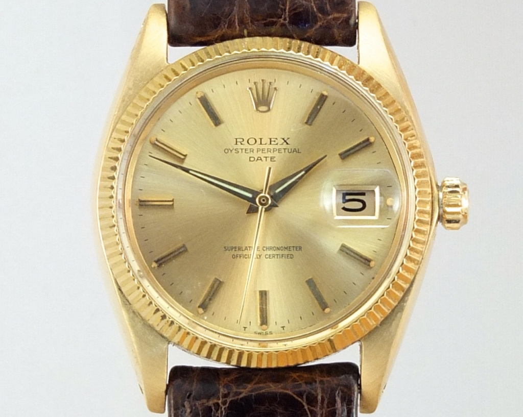 Rolex oyster perpetual date 1965 vintage gold watches for Vintage gold watch