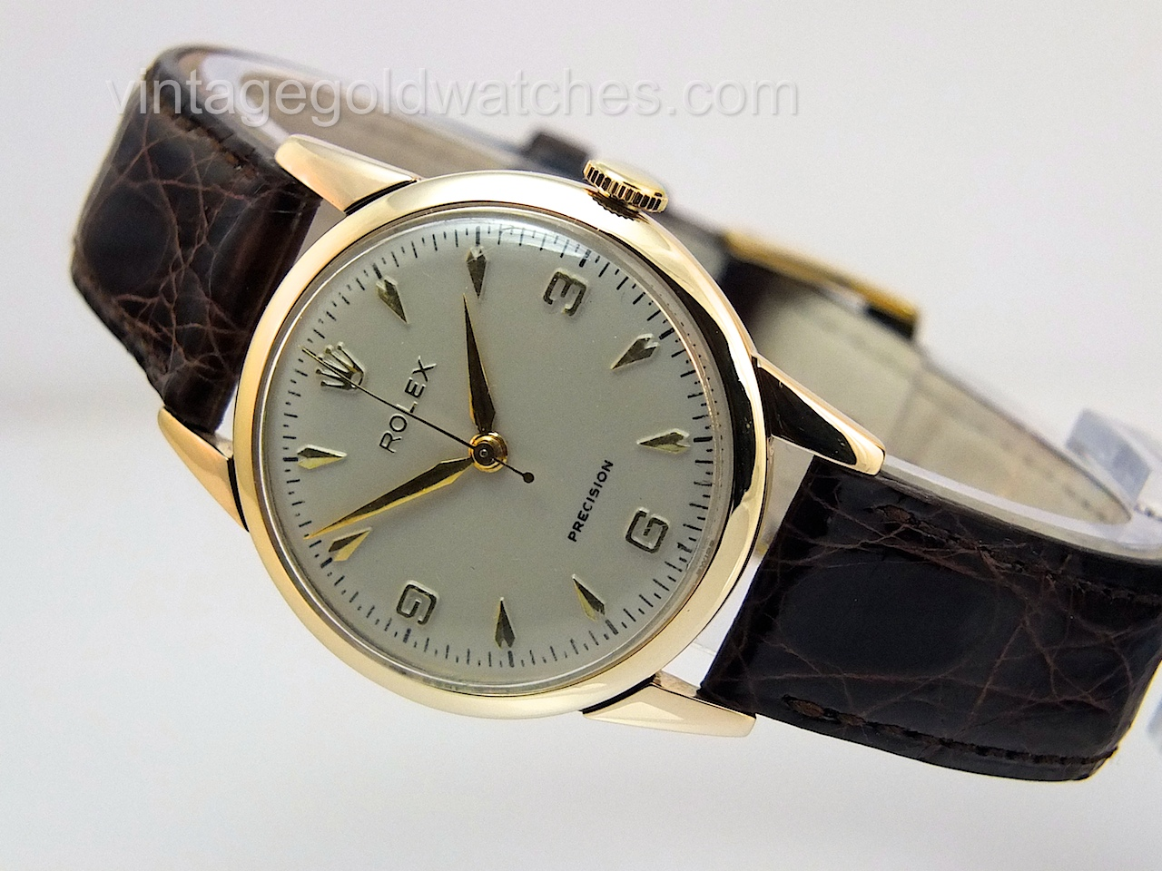 Rolex precision 9k 1959 vintage gold watches for Gold timepieces watch