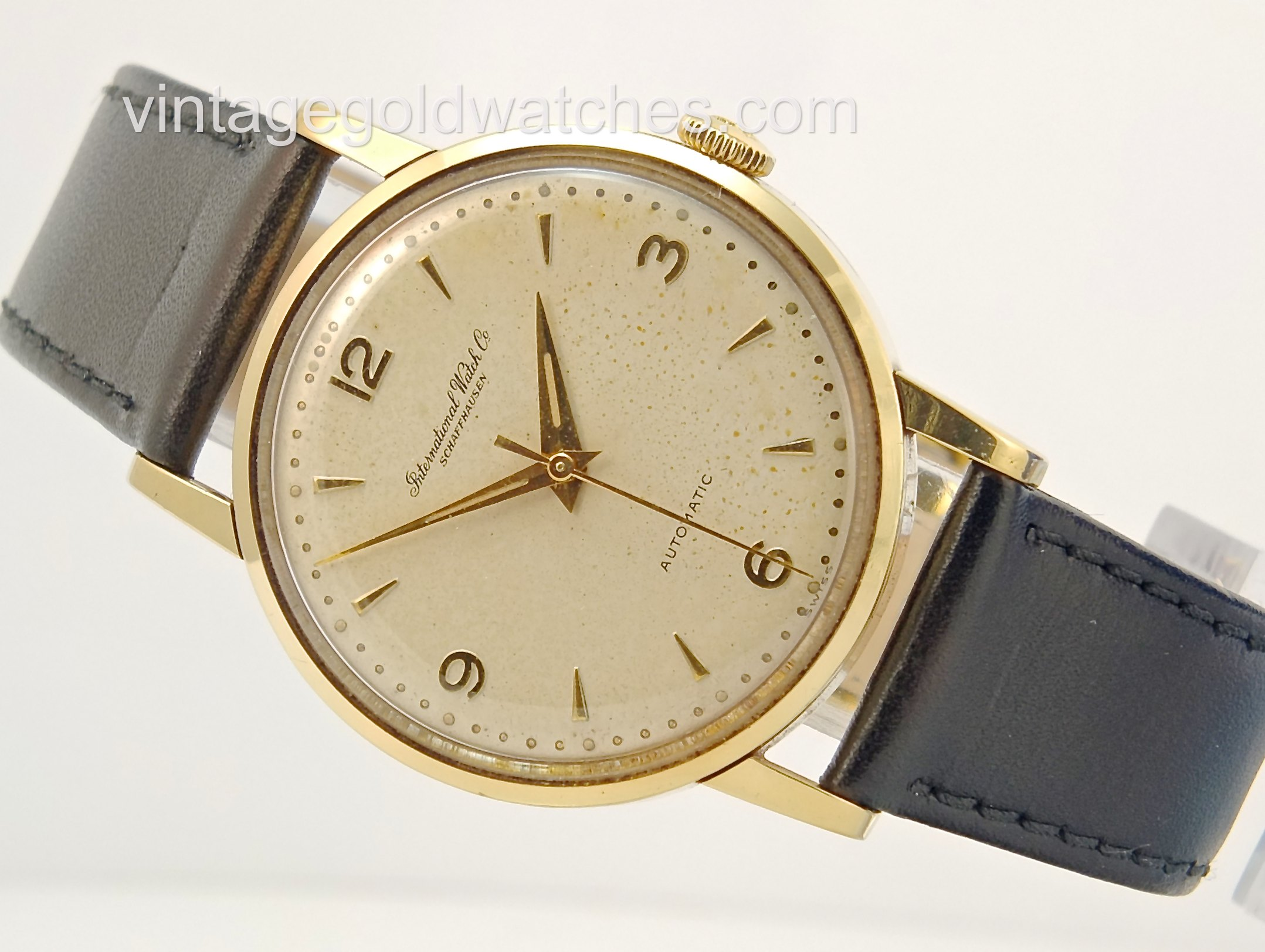 iwc watch gold brown product watches schaffhausen leather icw on