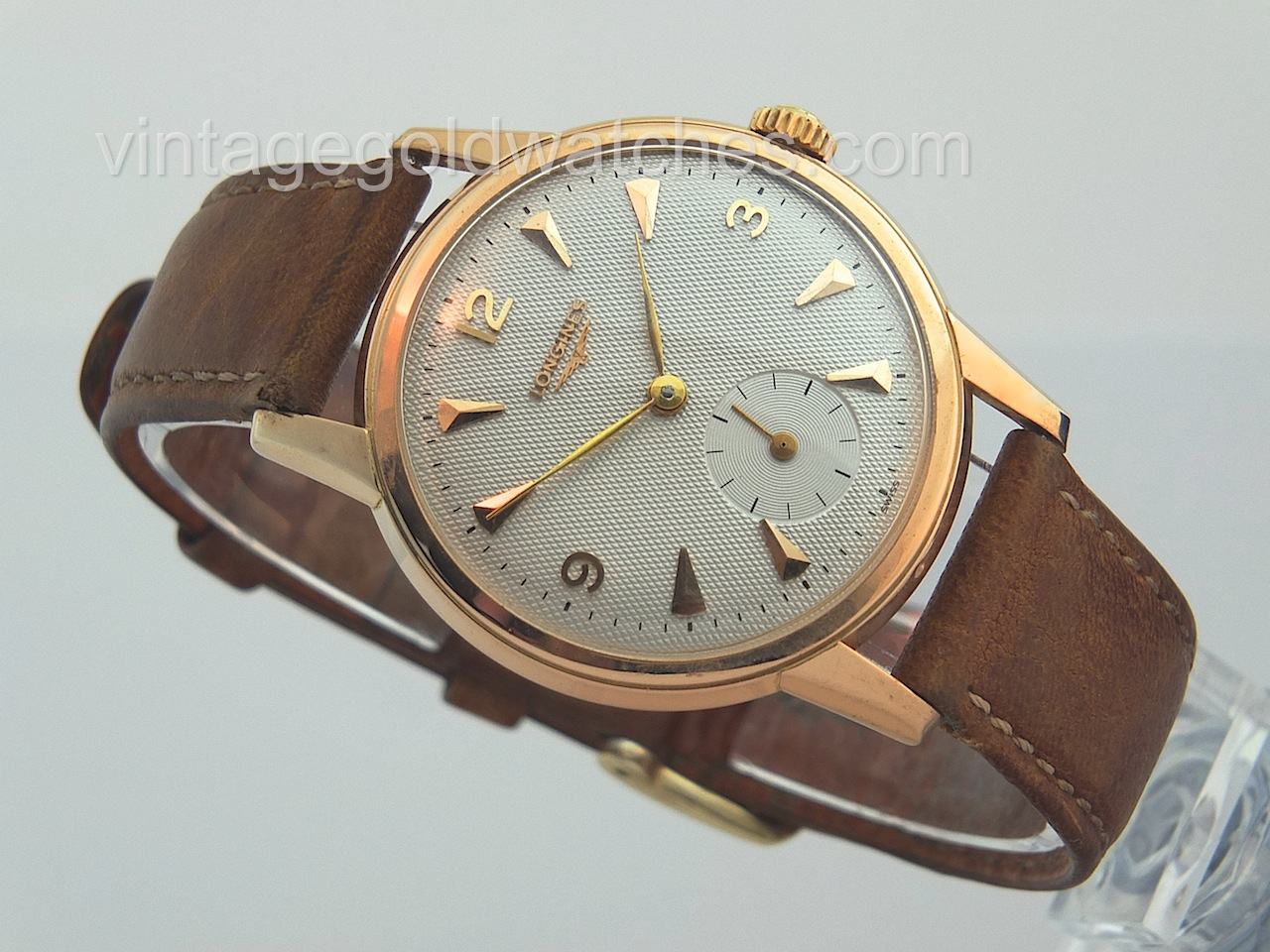 longines 18k rose gold oversize 1955 vintage gold watches