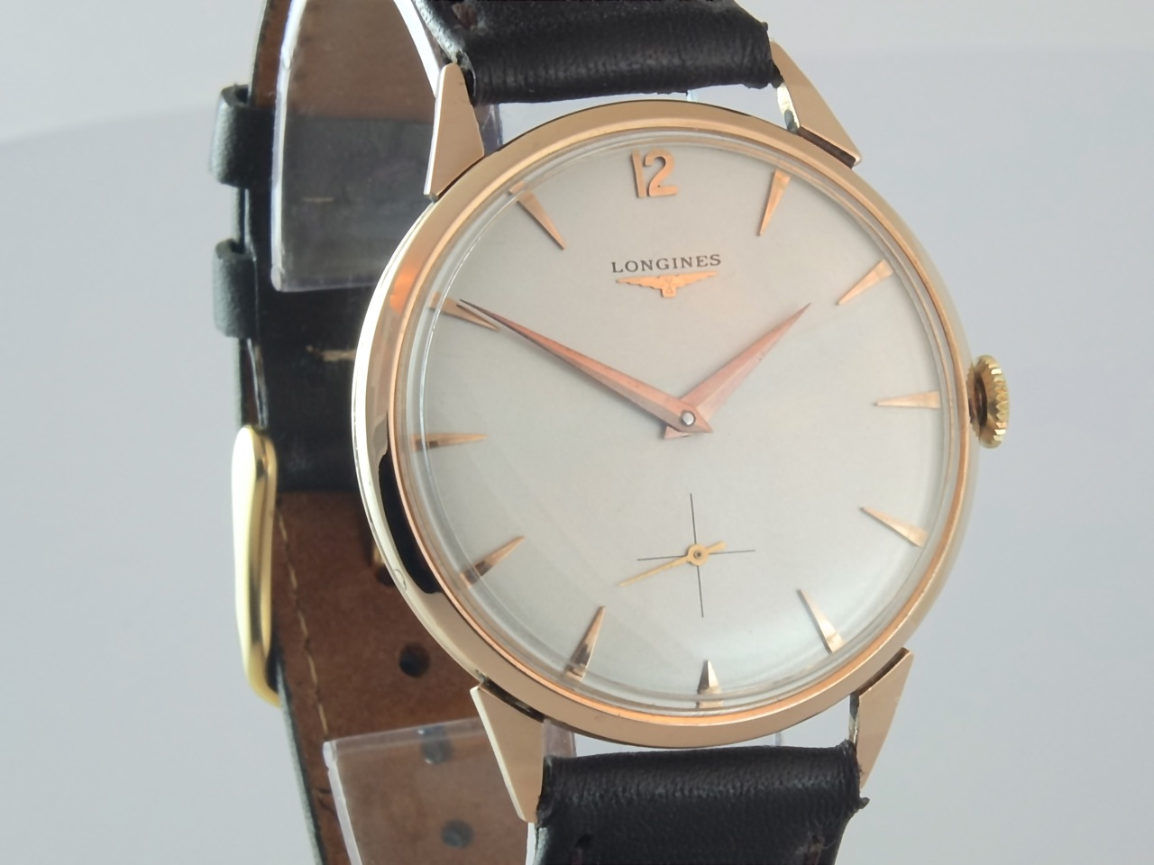 Longines 18k pink gold oversize 1956 vintage gold watches for Gold timepieces watch