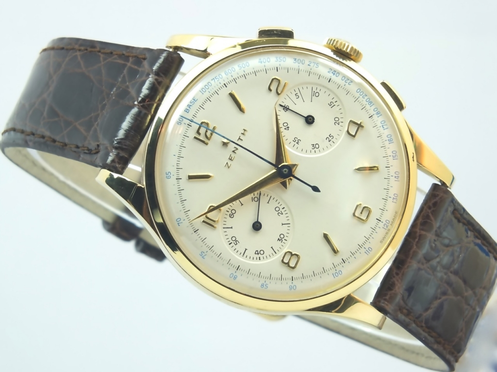 Zenith 18k swiss chronograph 1950 vintage gold watches for Watches gold
