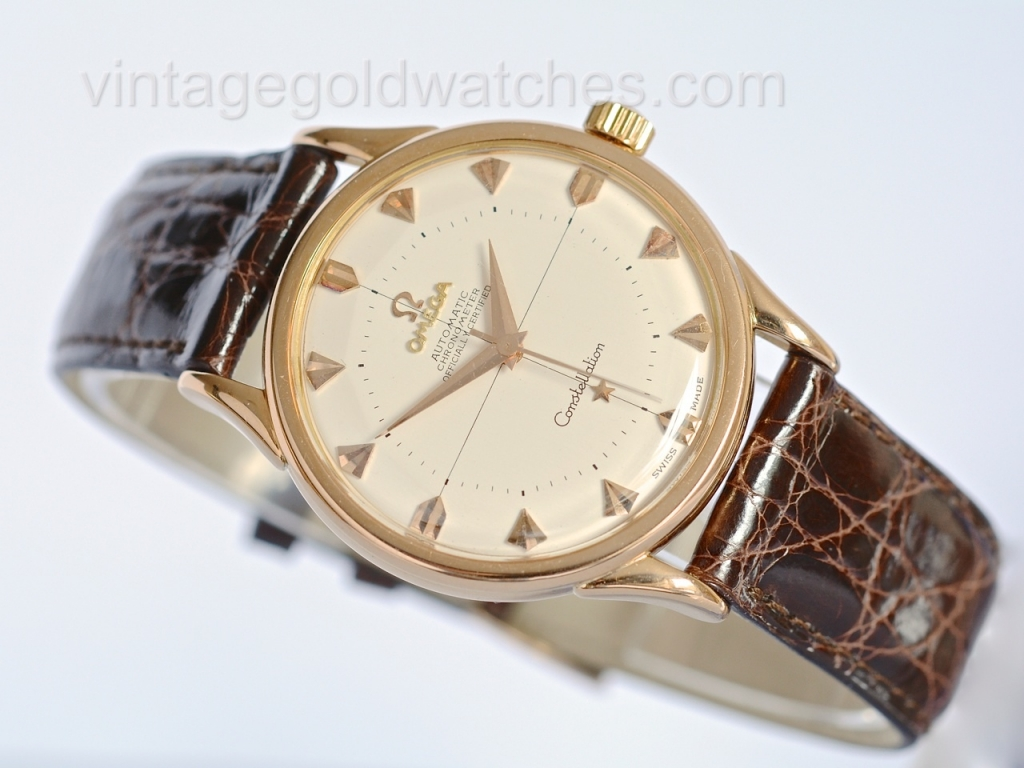Omega constellation 18k rose gold 1957 sorry now sold 10 10 14 vintage gold watches for Vintage gold watch