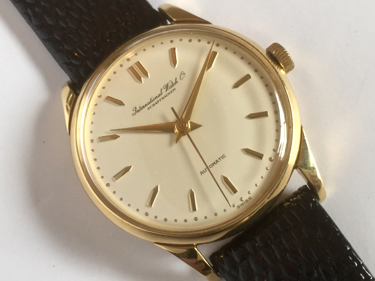 iwc automatic 18k 1953 34mm vintage gold watches