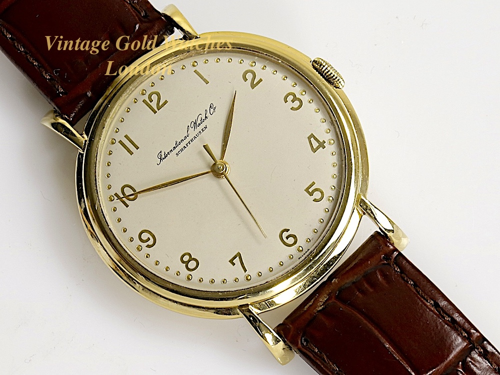 iwc 18ct manual 1958 37mm vintage gold watches