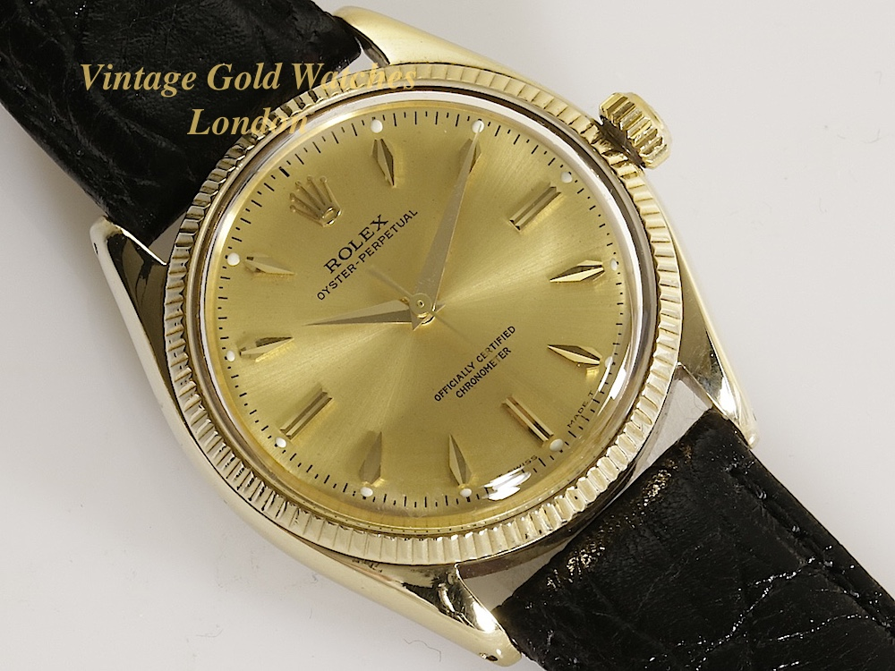 rolex oyster perpetual 9k 1953 vintage gold watches