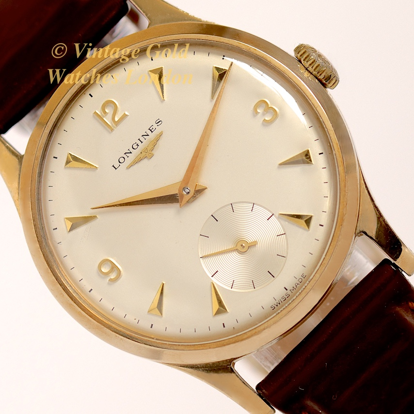 Longines 9ct 39 explorer 39 1950 immaculate vintage gold watches for Vintage gold watch