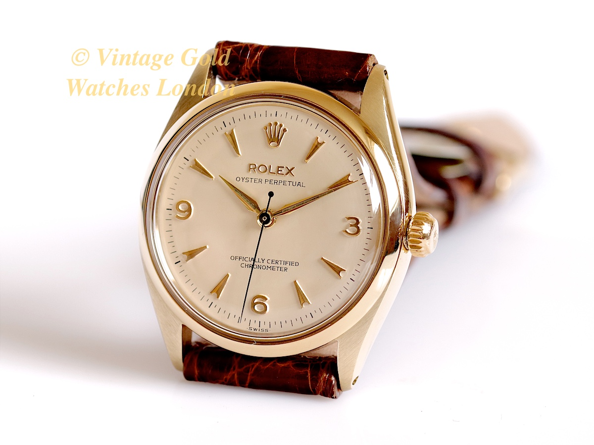 Rolex oyster perpetual 9k 1955 39 explorer 39 dial vintage gold watches for Oyster watches