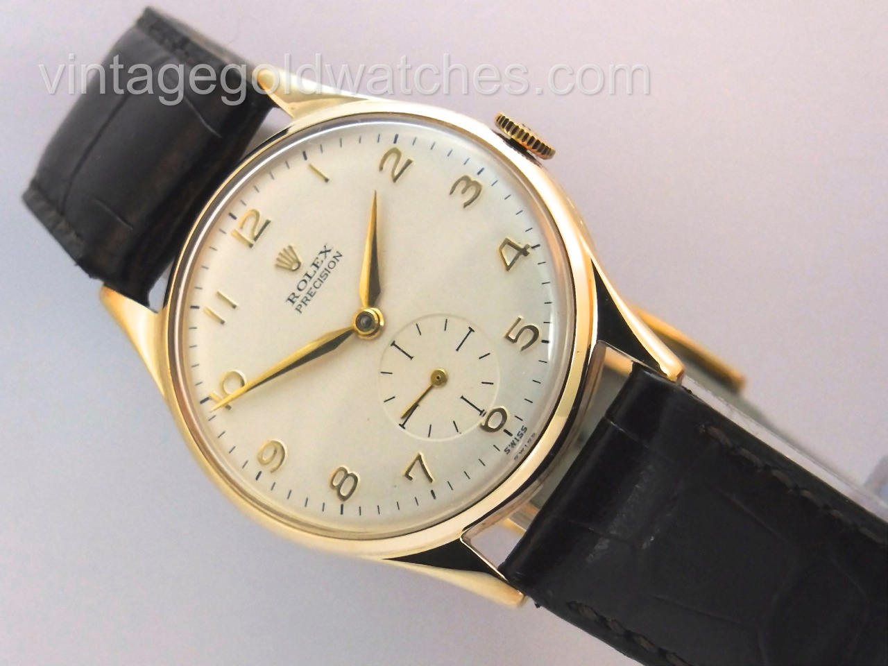 Rolex precision 9k 1960 sorry now sold vintage gold watches for Vintage gold watch