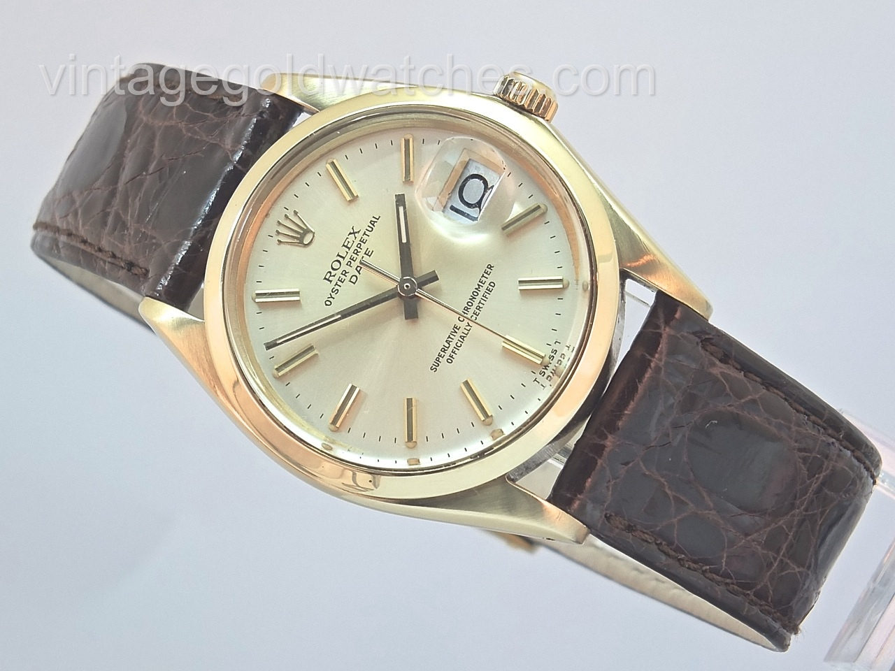 Rolex oyster perpetual 14k 1965 smooth bezel vintage gold watches for Oyster watches