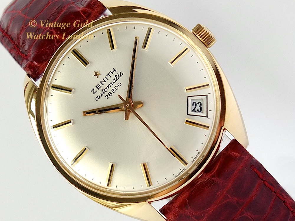 Zenith automatic 18ct 1972 hi beat 28 800 vintage gold watches for Gold timepieces watch